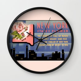 New York state flower vintage greetings from Wall Clock