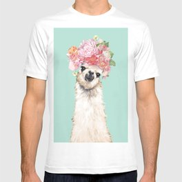 Llama with Flowers Crown #3 T-shirt