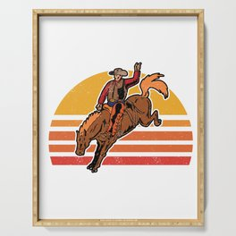 Vintage Cowboy Bucking Horse Rodeo Gift Serving Tray