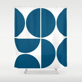 Mid Century Modern Blue Square Shower Curtain