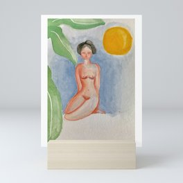 Sunbathing woman Mini Art Print