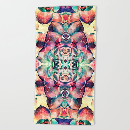 Succulents Abstract Beach Towel