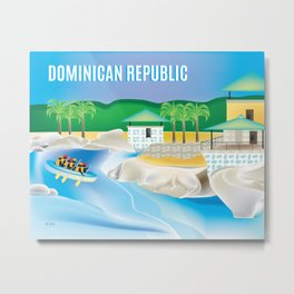 Dominican Republic - Skyline Illustration by Loose Petals Metal Print