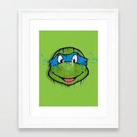 ninja turtle Framed Art Prints featuring TURTLE POWER (NINJA TURTLE) by EAZYYOKEART