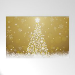 Gold Snowflakes Sparkling Christmas Tree Welcome Mat