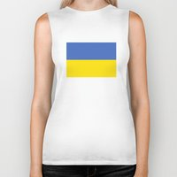 ukraine Biker Tanks featuring Ukraine country flag by tony tudor