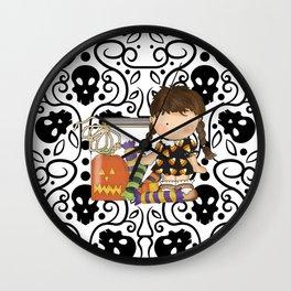 Halloween Skull Girl Wall Clock