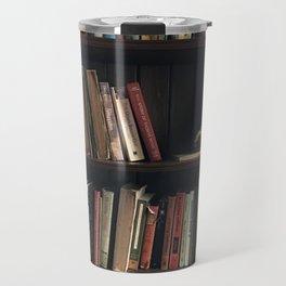 The Bookshelf in the Library, portrait, vibrant Travel Mug