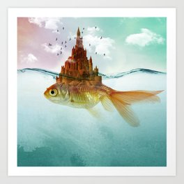 Goldfish Castle Art Print