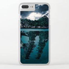 Dinosaur Island Mystery Clear iPhone Case