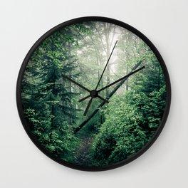 Fallen Tree in Misty Forest Wall Clock