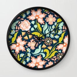 Indigo & Papaya Pattern 06 Wall Clock