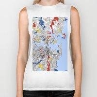 mondrian Biker Tanks featuring Sydney mondrian by Mondrian Maps