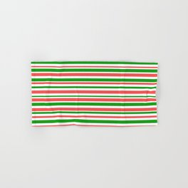 Green, White & Red Colored Lines Pattern Hand & Bath Towel