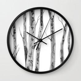 Birch Trees   Indian Ink Illustration   Canadian Art Wall Clock