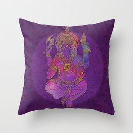 Ganesha hindu god watercolor gold purple art Throw Pillow