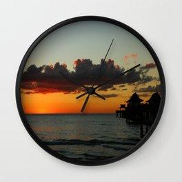 Naples Pier Sunset Wall Clock