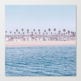Vintage Newport Beach Print {3 of 4} | Photography Ocean Palm Trees Cool Blue Tropical Summer Sky Canvas Print