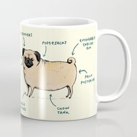 anatomy Mugs featuring Anatomy of a Pug by Sophie Corrigan