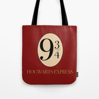 harry potter Tote Bags featuring HARRY POTTER by Sophie