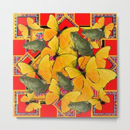 GOLDEN BUTTERFLIES & FROGS RED COLLAGE Metal Print