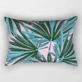 Tropical Palm Leaves in Botanical Green + Pink Rectangular Pillow