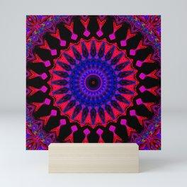 Mandala; Purple Blue and Black Mini Art Print