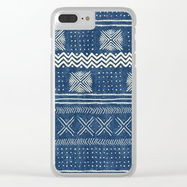 Mud Cloth Geometric Stripe Navy Clear iPhone Case