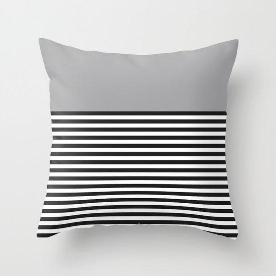 STRIPE COLORBLOCK {GRAY} Throw Pillow