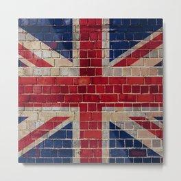 UK Union Flag on a brick wall Metal Print