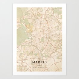 Madrid, Spain - Vintage Map Kunstdrucke