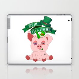 St Patrick's Day Kiss Me I'm A Unicorn Pig Laptop & iPad Skin