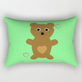Illustrated Bear Print Rectangular Pillow