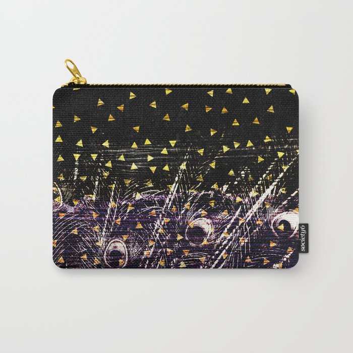 Ultra Violet Peacock Feathers on Gold and Black Carry-All Pouch