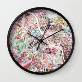 Warsaw map Wall Clock