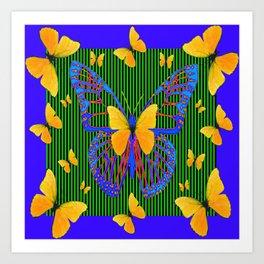 YELLOW BUTTERFLIES  BLUE MODERN ART DESIGN Art Print