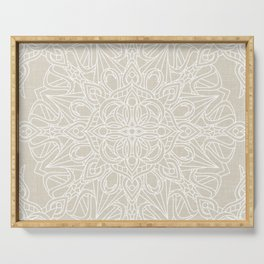 White Lace Mandala on Antique Ivory Linen Background Serving Tray