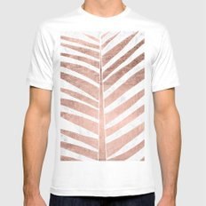 Modern faux rose gold tropical palm tree leaf white marble MEDIUM Mens Fitted Tee White