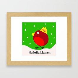 nadolig llawen Merry Christmas robin Framed Art Print