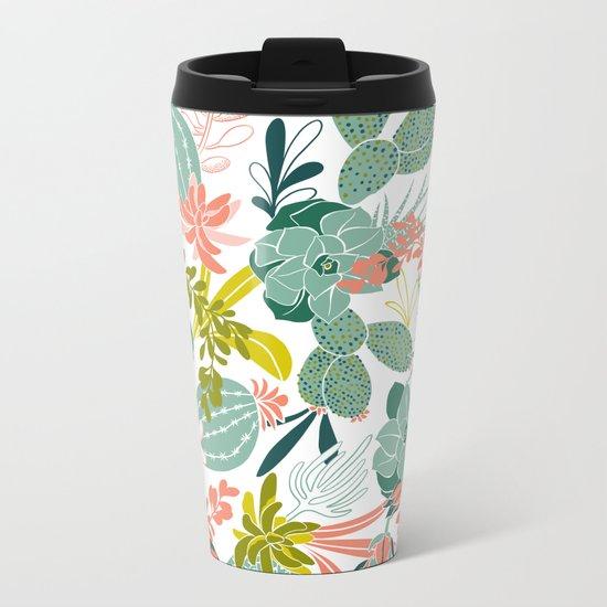 Succulent Garden White Metal Travel Mug