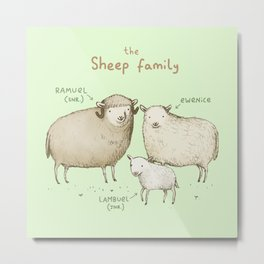 The Sheep Family Metal Print