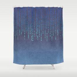 Dark Glamour blue faux glitter rhinestones Shower Curtain