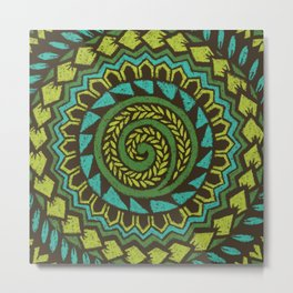 Retro Abstract 60s 70s Polynesian Tattoo Pattern Vintage Green Metal Print
