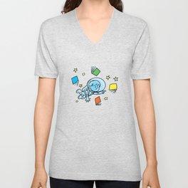 little astronaut and books Unisex V-Neck