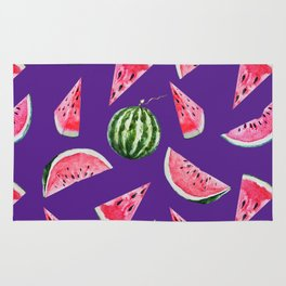Watermelon Pattern with Purple Background Rug