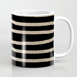 Simply Drawn Stripes White Gold Sands on Midnight Black Coffee Mug