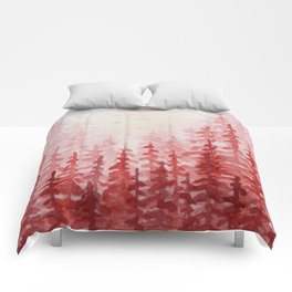 """Red Forest"" watercolor landscape painting Comforters"