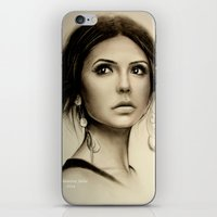 the vampire diaries iPhone & iPod Skins featuring Nina Dobrev The Vampire Diaries  by Yuliya  Talanova