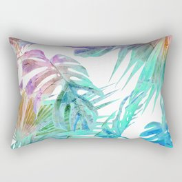 Simply Palm Leaves in Hologram Island Rectangular Pillow