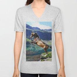 Horse and Lake Unisex V-Neck